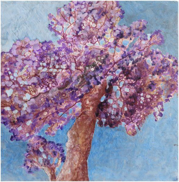 Jacaranda Tree fluid acrylic pour